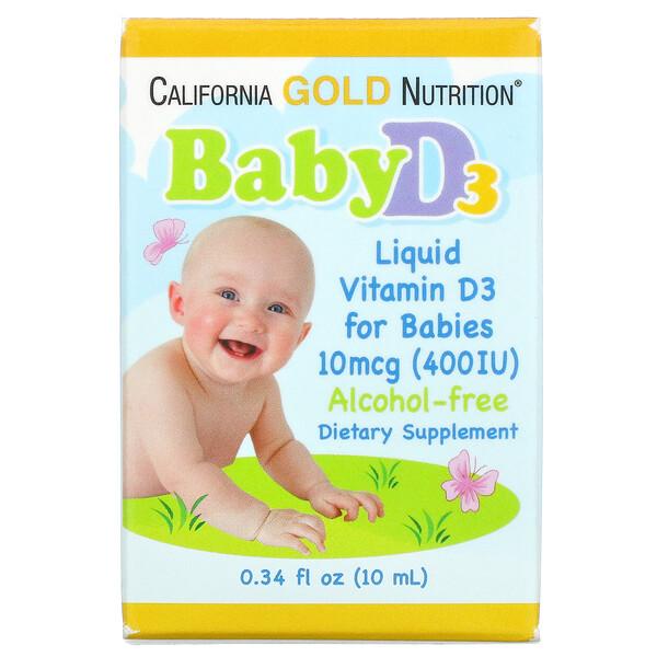 Baby Vitamin D3 Liquid, 10 mcg (400 IU), 0.34 fl oz (10 ml)