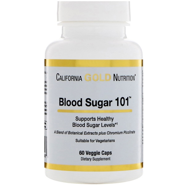 California Gold Nutrition, Targeted Support, Blood Sugar 101, 60 растительных капсул (Discontinued Item)