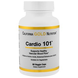 California Gold Nutrition, Targeted Support, Cardio 101, 60 растительных капсул