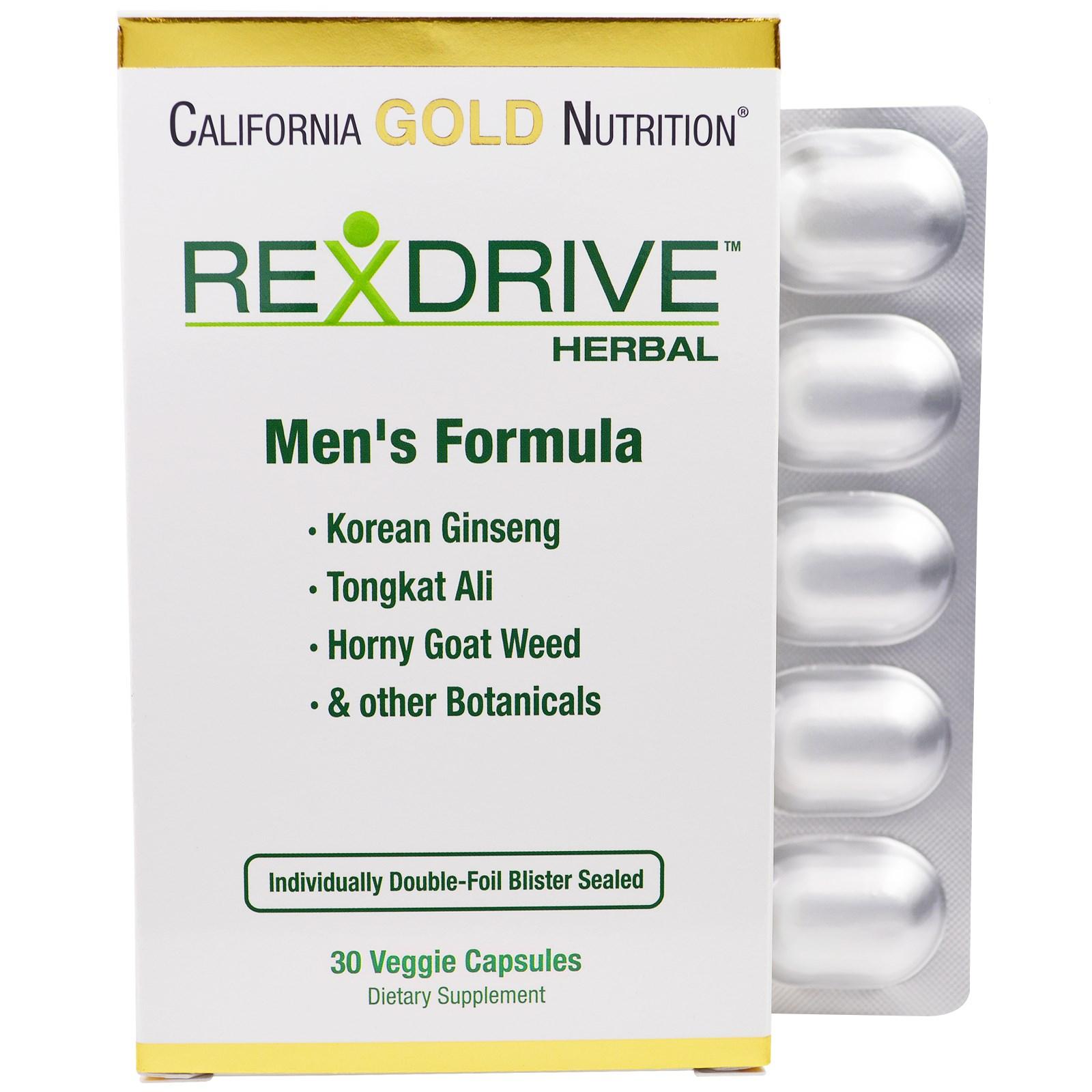 California Gold Nutrition, Rexdrive Herbal, формула для мужчин, 30 растительных капсул