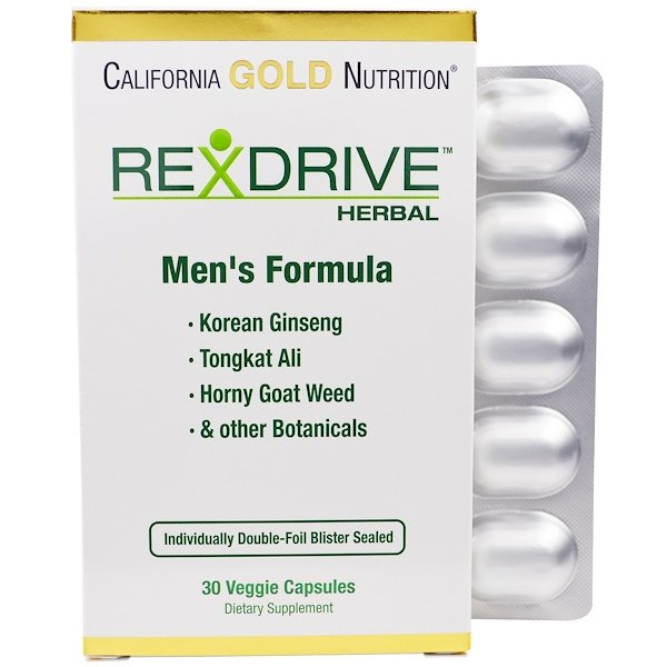 California Gold Nutrition, Rexdrive Herbal, Men's Formula, 30 Veggie Caps