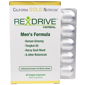 California Gold Nutrition, Rexdrive Herbal, Men's Formula, 30 Veggie Capsules отзывы покупателей