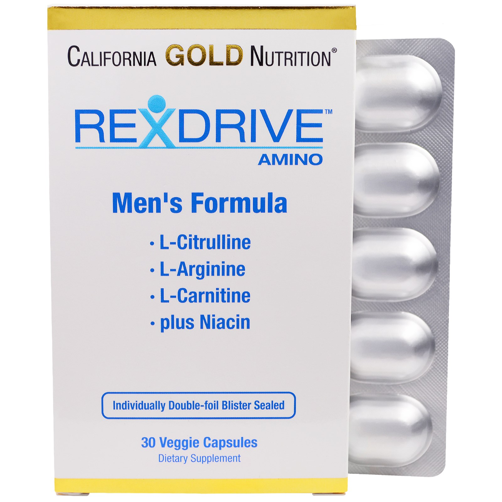 California Gold Nutrition, Rexdrive Amino, формула для мужчин, 30 растительных капсул