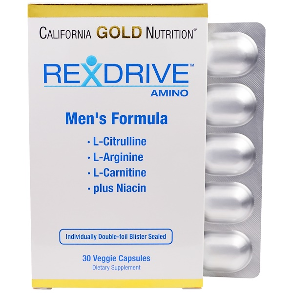 California Gold Nutrition, Rexdrive Amino, Men's Formula, 30 Veggie Caps (Discontinued Item)