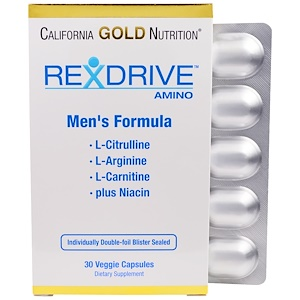 California Gold Nutrition, Rexdrive Amino, формула для мужчин, 30 растительных капсул