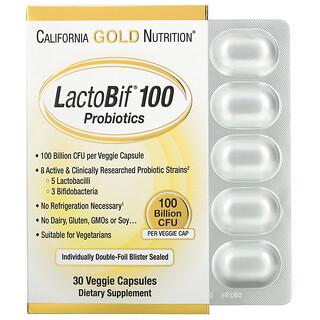 California Gold Nutrition, بروبيوتيك LactoBif، 100 مليار وحدة تشكيل مستعمرة، 30 كبسولة نباتية