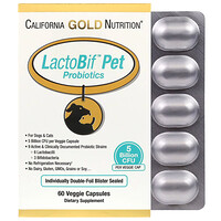 California Gold Nutrition, LactoBif 宠物益生菌,50 亿 CFU,60 粒素食胶囊