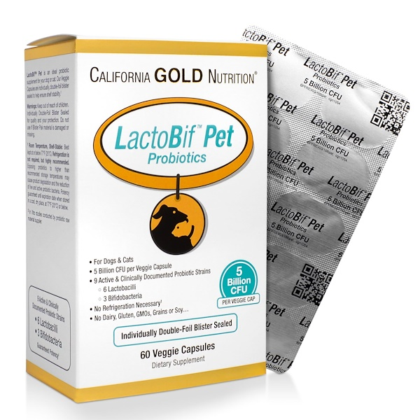 California Gold Nutrition, LactoBif Pet Probiotics, 5 Billion CFU, 60 Veggie Caps