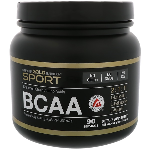 California Gold Nutrition, BCAA, AjiPure® ब्रांच्ड चेन एमिनो एसिड, 16 आउंस (454 ग्राम)