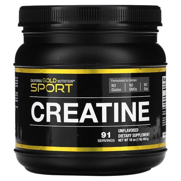 California Gold Nutrition, Monohidrato de creatina, Sin sabor, 454g (16oz)