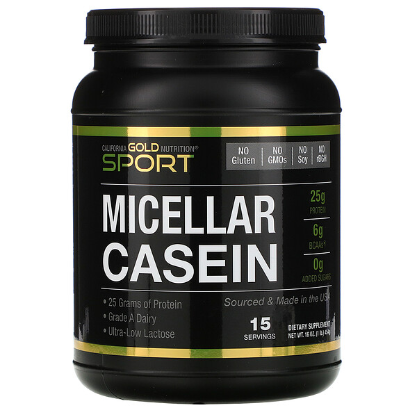 SPORT, Micellar Casein Protein, Unflavored, 88% Protein, Slow Absorption, Easy to Digest, Grade A Idaho, USA Dairy, 16 oz (454 g)