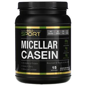 California Gold Nutrition, SPORT, Micellar Casein Protein, Unflavored, 88% Protein, Slow Absorption, Easy to Digest, Grade A Idaho, USA Dairy, 16 oz (454 g) отзывы покупателей