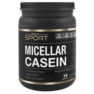 California Gold Nutrition, Мицеллярный казеин, минимальное содержание лактозы, без глютена, 16 унций (454 г)