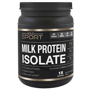 California Gold Nutrition, Milk Protein Isolate, 85% Milk Protein, Ultra-Low Lactose, 16 oz (454 g)