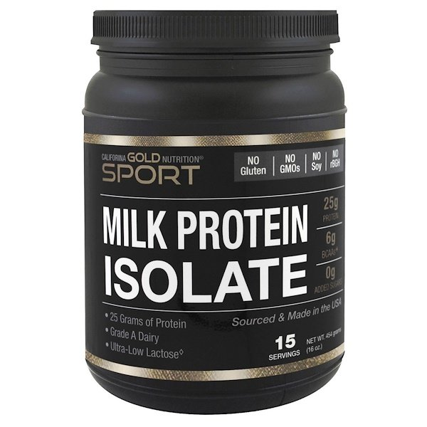 California Gold Nutrition, Milk Protein Isolate, 85% Milk Protein, Ultra-Low Lactose, 16 oz (454 g) (Discontinued Item)