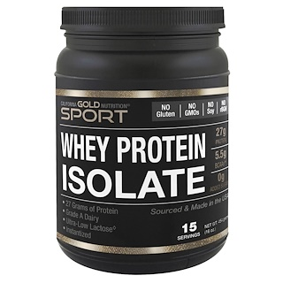 California Gold Nutrition, Whey Protein Isolate, Instantized, Ultra-Low Lactose, Unflavored, 1 lb,  16 oz (454 g)