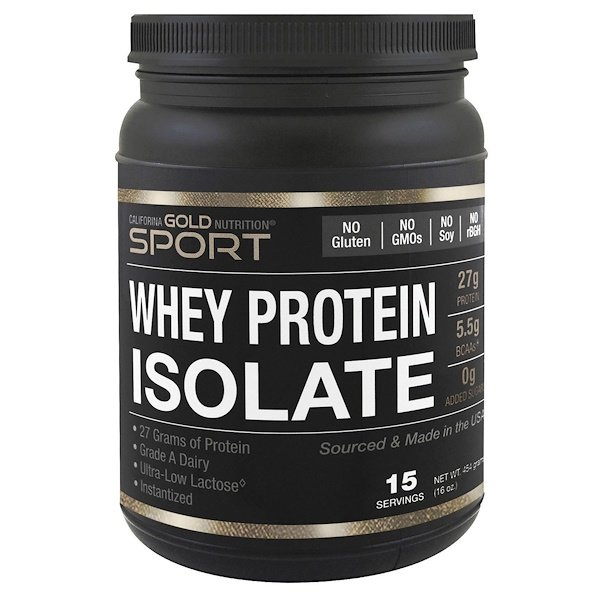 California Gold Nutrition, SPORT, Whey Protein Isolate, Unflavored, 90% Protein, Fast Absorption, Easy to Digest, Single Source Grade A Wisconsin, USA Dairy, 1 lb, 16 oz (454 g)