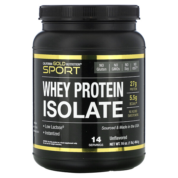 California Gold Nutrition, SPORT  - Whey Protein Isolate, 1 lb, 16 oz (454 g)