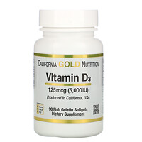 California Gold Nutrition, ויטמין D3‏, 125 מק״ג (5,000 יחב״ל), 90 כמוסות רכות מג'לטין דגים