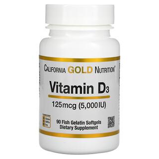 California Gold Nutrition, витаминD3, 125мкг (5000МЕ), 90капсул из рыбьего желатина