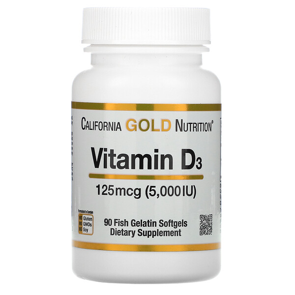 Vitamin D3, 125 mcg (5,000 IU), 90 Fish Gelatin Softgels
