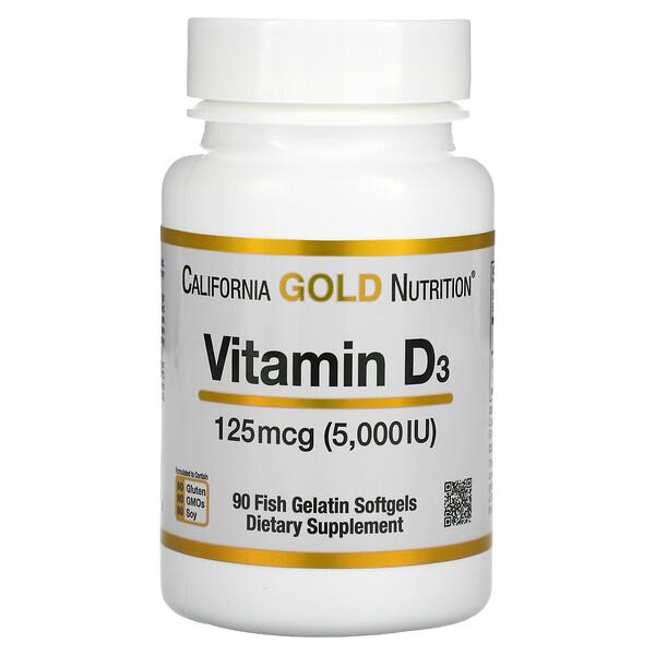 California Gold Nutrition, Vitamin D3, 125 mcg (5,000 IU), 90 Fish Gelatin Softgels