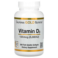 California Gold Nutrition, Vitamina D3, 125 mcg (5.000 UI), 360 Cápsulas Softgel de Peixe