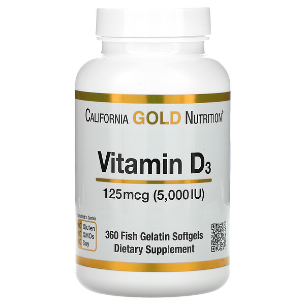 California Gold Nutrition, ויטמין D3‏, 125 מק״ג (5,000 יחב״ל), 360 כמוסות רכות מג'לטין דגים