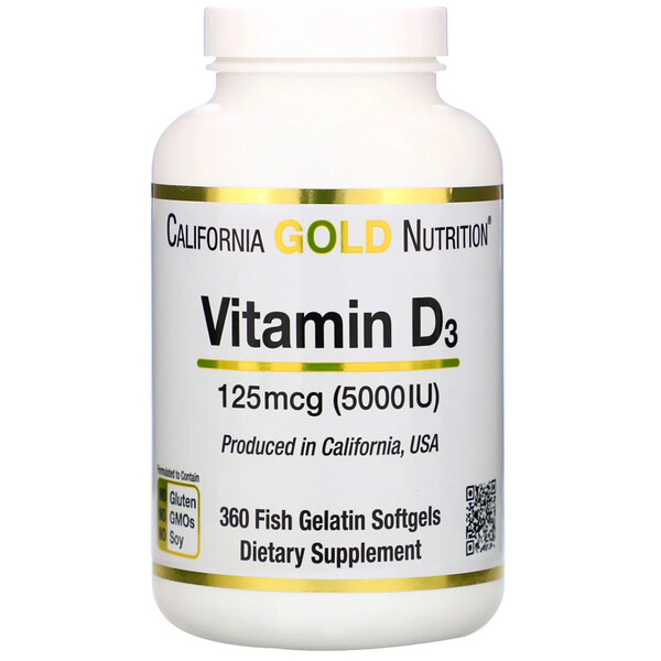 California Gold Nutrition, Vitamin D3, 125 mcg (5,000 IU), 360 Fish Gelatin Softgels