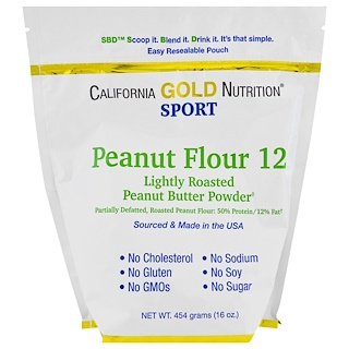 California Gold Nutrition, Peanut Butter Powder, 12% Fat, Gluten Free, 16 oz (454 g)