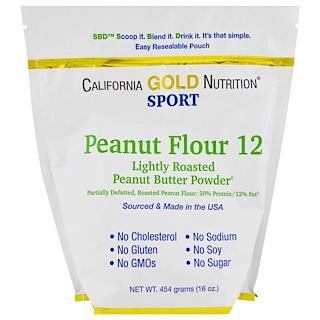 California Gold Nutrition, ピーナッツバター粉末、脂肪分12%、グルテンフリー、16オンス (454 g)