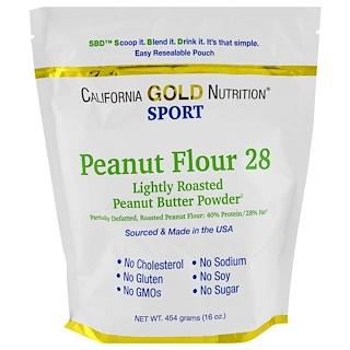 California Gold Nutrition, ピーナッツバター粉末、脂肪分28%、グルテンフリー、16オンス (454 g)