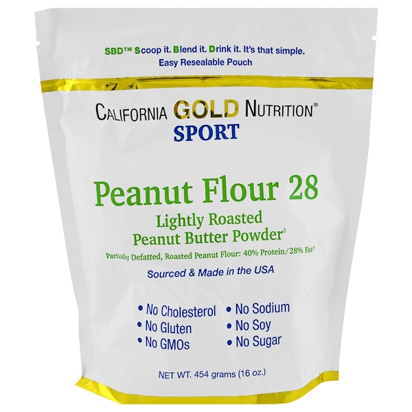 California Gold Nutrition, Peanut Butter Powder, 28% Fat, Gluten Free, 16 oz ( 454 g) (Discontinued Item)