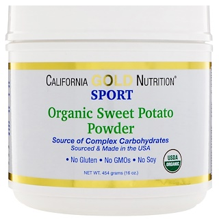 California Gold Nutrition, オーガニック・サツマイモ粉末、複合炭水化物、グルテンフリー、16オンス (454 g)