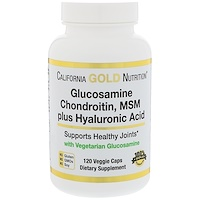 глюкозамин, хондроитин, метилсульфонилметан плюс гиалуроновая кислота, 120 вегетарианских капсул - фото