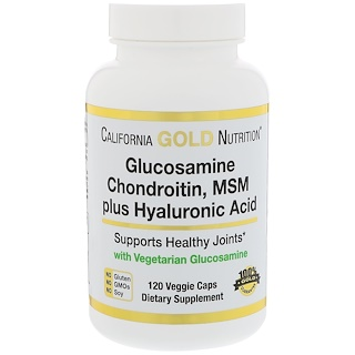 California Gold Nutrition, Vegetarian Glucosamine, Chondroitin, MSM Plus Hyaluronic Acid, 120 Veggie Caps