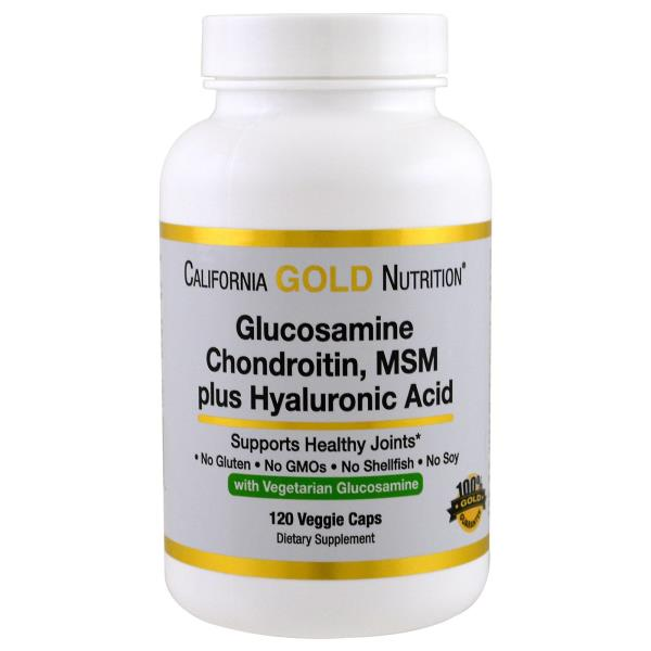 California Gold Nutrition, 베지테리안글루코사민, 콘드로이친, MSM 플러스 히알루론산, 120 베지 캡슐
