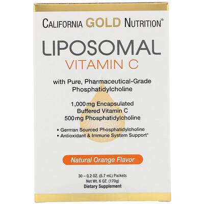 California Gold Nutrition Липосомальный витаминC, с натуральным ароматизатором «Апельсин», 1000мг, 30пакетиков по 5,7мл (0,2унции) в каждом