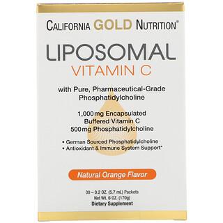 California Gold Nutrition, Liposomal Vitamin C, Natural Orange Flavor, 1000 mg, 30 Packets, 0.2 oz (5.7 ml) Each