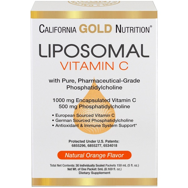 California Gold Nutrition, Liposomal Vitamin C, with Phosphatidylcholine, Natural Orange Flavor, 30 Individually-Sealed Packets, 0.169 fl oz (5 ml) Each (Discontinued Item)