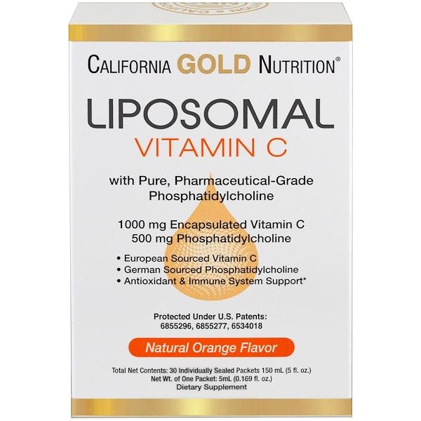 California Gold Nutrition, ホスファチジルコリン入りリポソームビタミンC、ナチュラルオレンジフレーバー、30個別包装パケット、各0.169 fl oz (5 ml)  (Discontinued Item)