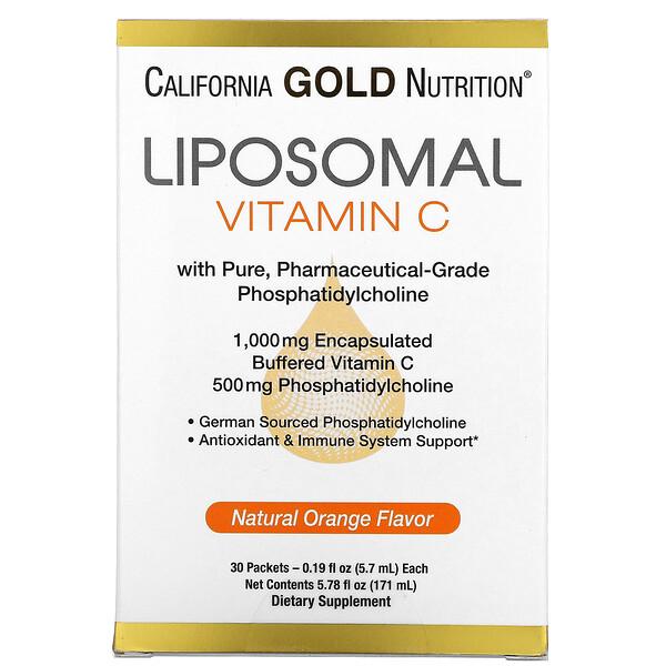 VitaminaC liposomal, Sabor natural a naranja, 1000mg, 30sobres, 5,7ml (0,2oz) cada uno
