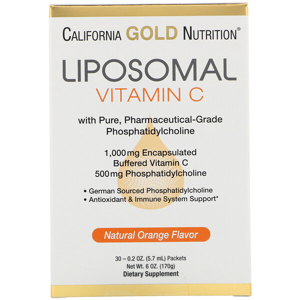 California Gold Nutrition, Liposomal Vitamin C, Natural Orange Flavor, 1000 mg, 30 Packets, 0.2 oz (5.7 ml) Each
