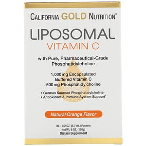California Gold Nutrition, Liposomal Vitamin C, Natural Orange Flavor, 1000 mg, 30 Packets, 0.2 oz (5.7 ml) Each отзывы покупателей