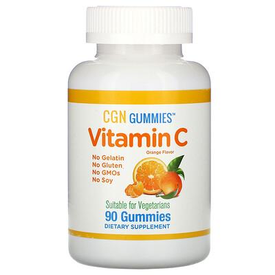 Купить California Gold Nutrition Жевательные таблетки с витаминомC, натуральный апельсиновый вкус, без желатина, 90жевательных таблеток
