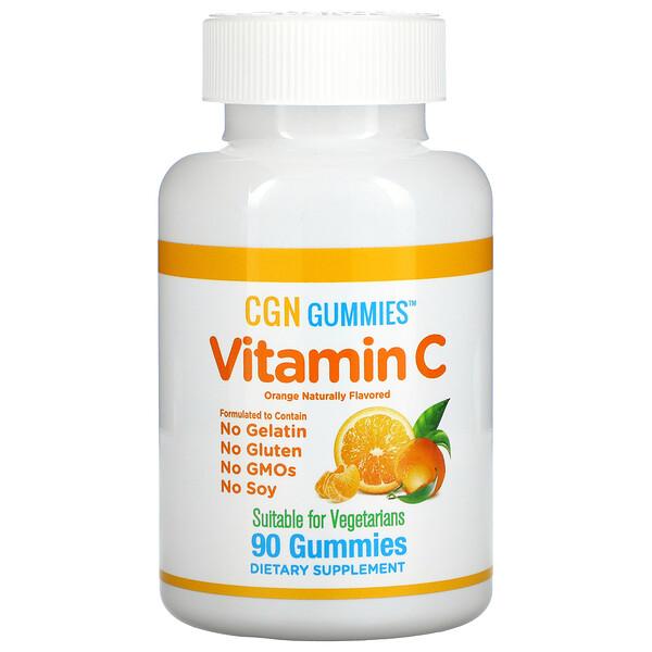علكات فيتامين جـ، نكهة البرتقال الطبيعي، خالية من الجيلاتين، 90 علكة