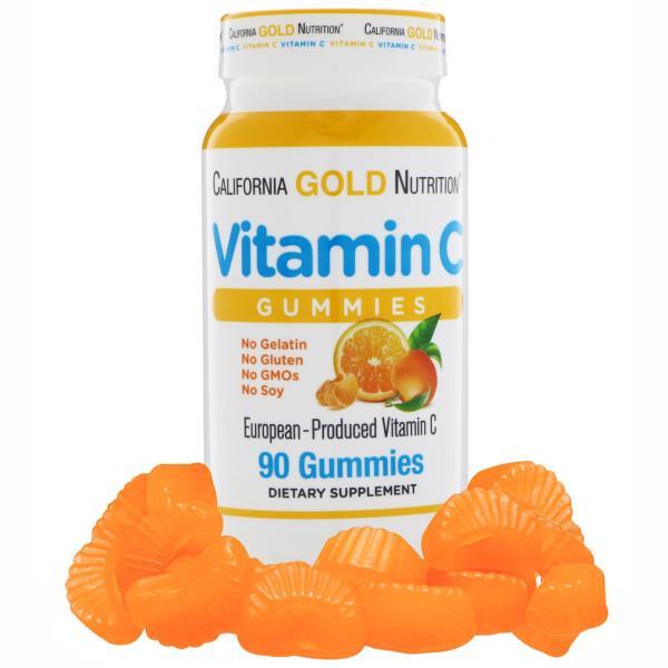 California Gold Nutrition, ビタミンCグミ、非遺伝子組み換え、グルテンフリー、90粒
