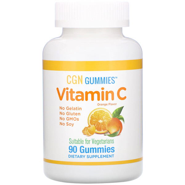Vitamin C Gummies, Natural Orange Flavor, Gelatin Free, 90 Gummies