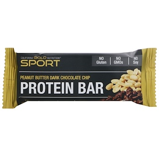 California Gold Nutrition, Protein Bar, Peanut Butter Dark Chocolate Chip, Gluten Free, 2.1 oz (60 g )