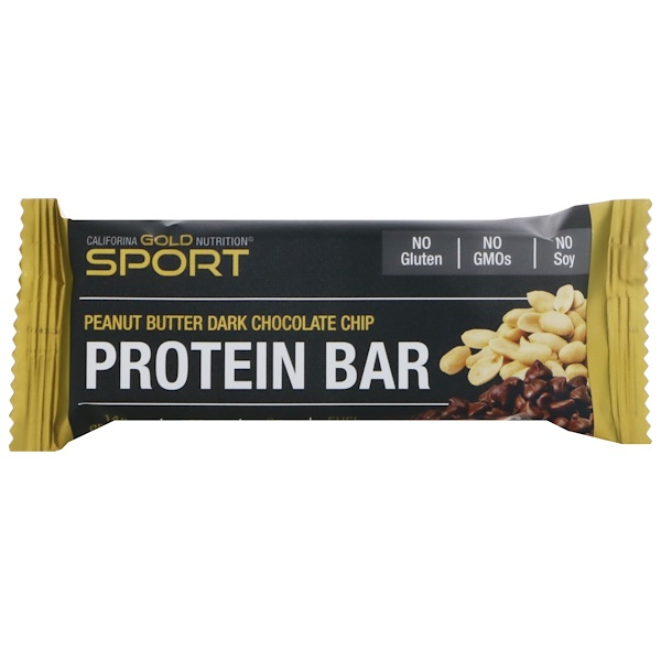 California Gold Nutrition, Protein Bar, Peanut Butter Dark Chocolate Chip, Gluten Free, 2.1 oz (60 g ) (Discontinued Item)